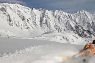 Fred Compagnon en bodyboard à la montagne